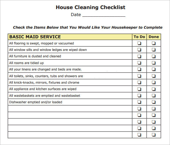 House Cleaning Checklist Pdf  Template Business