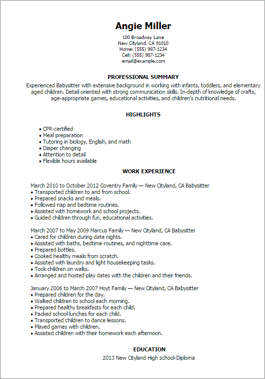 Babysitting Resume Template