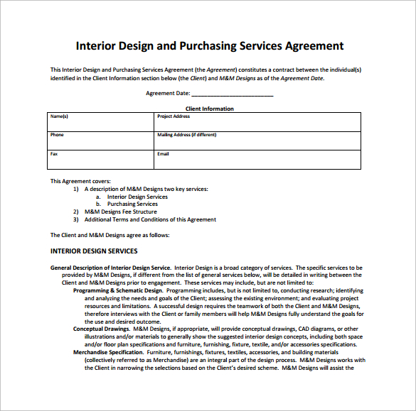 Interior design contract template free for Contract for interior design services