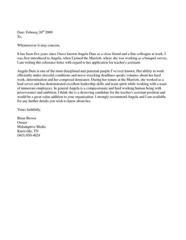 sample letter of recommendation for immigration purposes