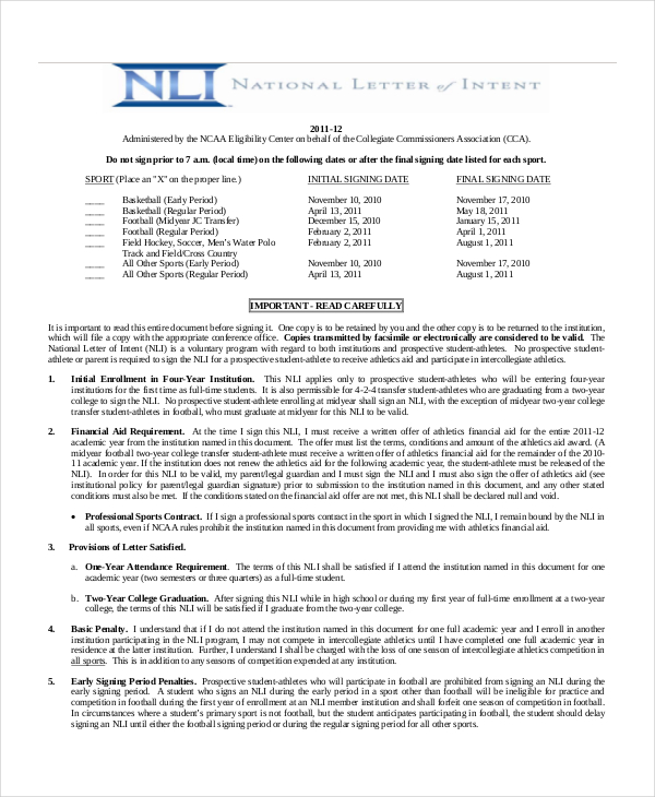 National Letter Of Intent Template Business