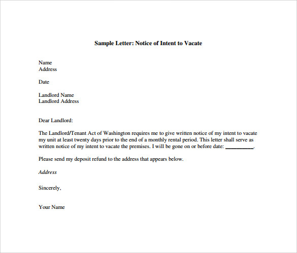 Notice To Vacate Apartment Template Business
