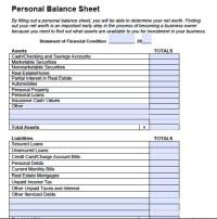 Personal Balance Sheet   Template Business
