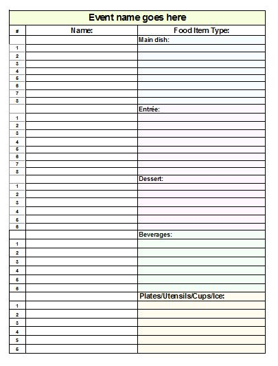 Potluck Sign Up Sheet Template | Template Business