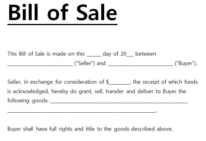 Motorcycle Bill Sale Template Pdf Printable