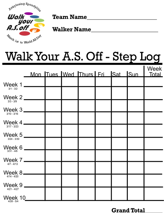 picture regarding Printable Walking Log titled √ Printable Strolling Charts 6 Perfect Photos of Cost-free