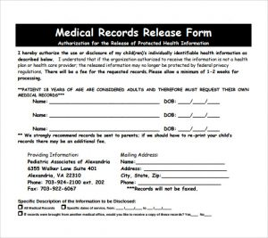 Release Of Medical Records Form | Template Business
