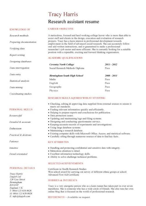 Research Assistant Resume Template Business