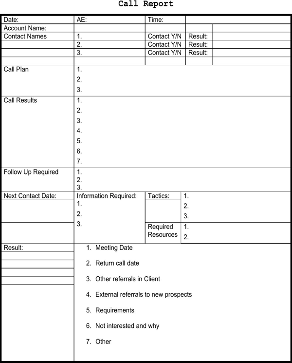 Sales Call Report Template - FREE DOWNLOAD