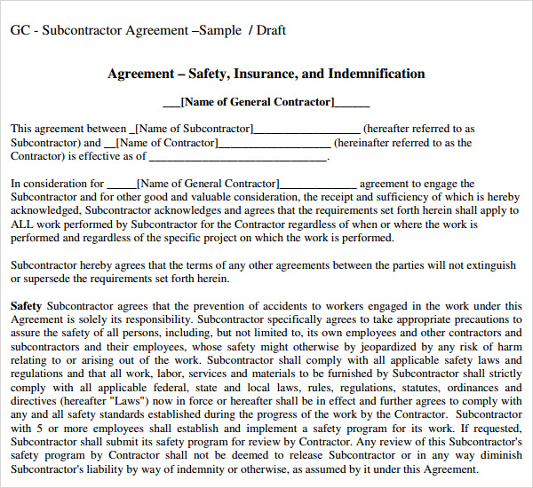 Sample Subcontractor Agreement | Template Business