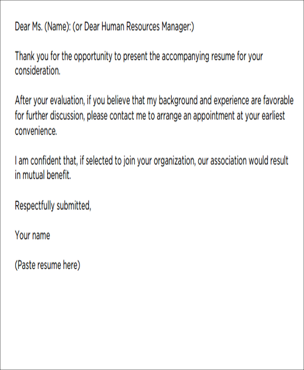 Short Cover Letter  Template Business