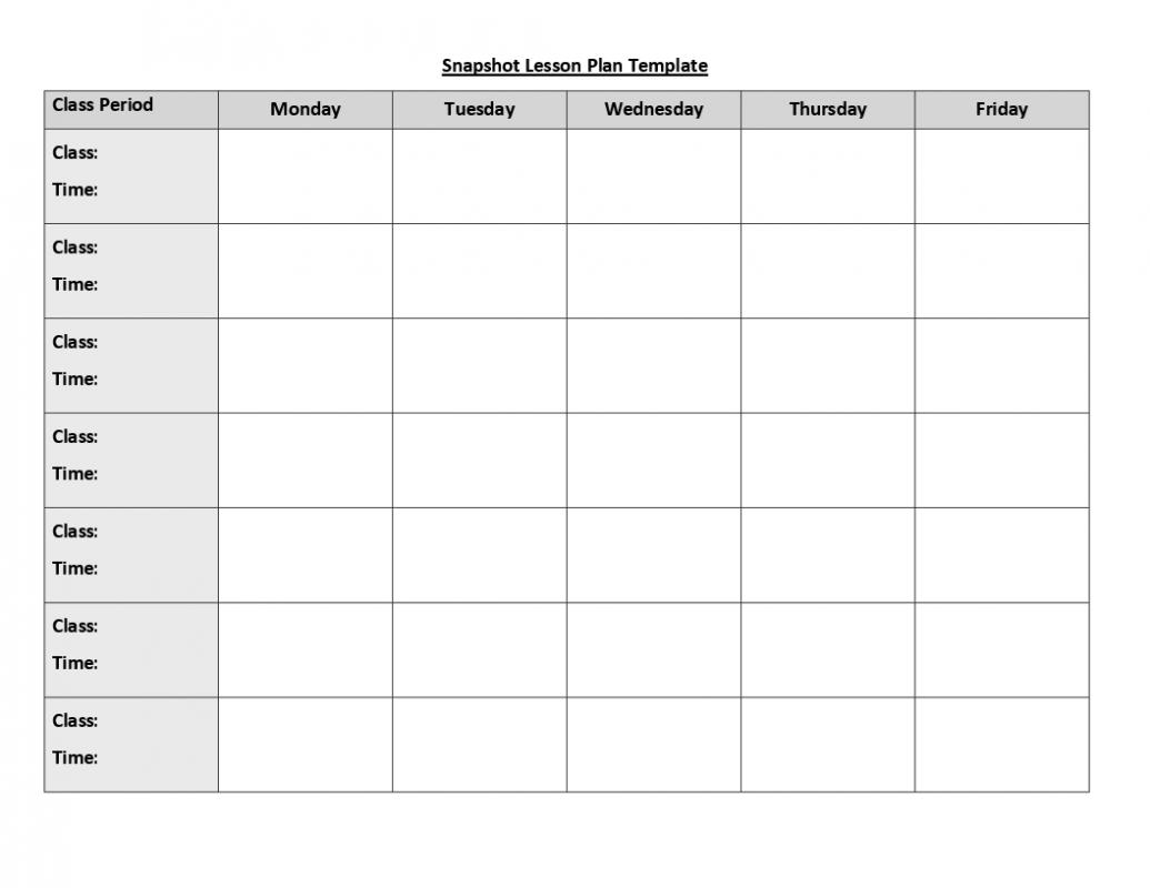 Blank Weekly Lesson Plan Template. Weekly Lesson Plan Template