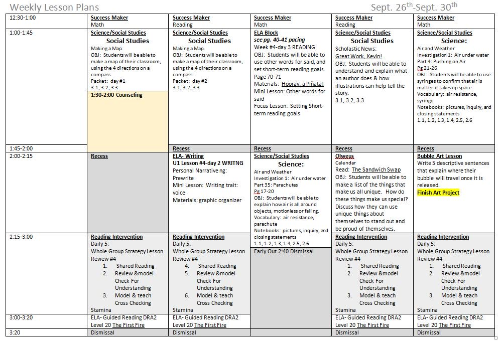Weekly Lesson Plan Template Doc - Weekly lesson plan templates