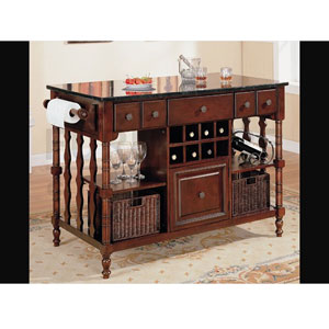 Kitchen Island Cart Dark Wood Finish Marble Top 910029 CO More