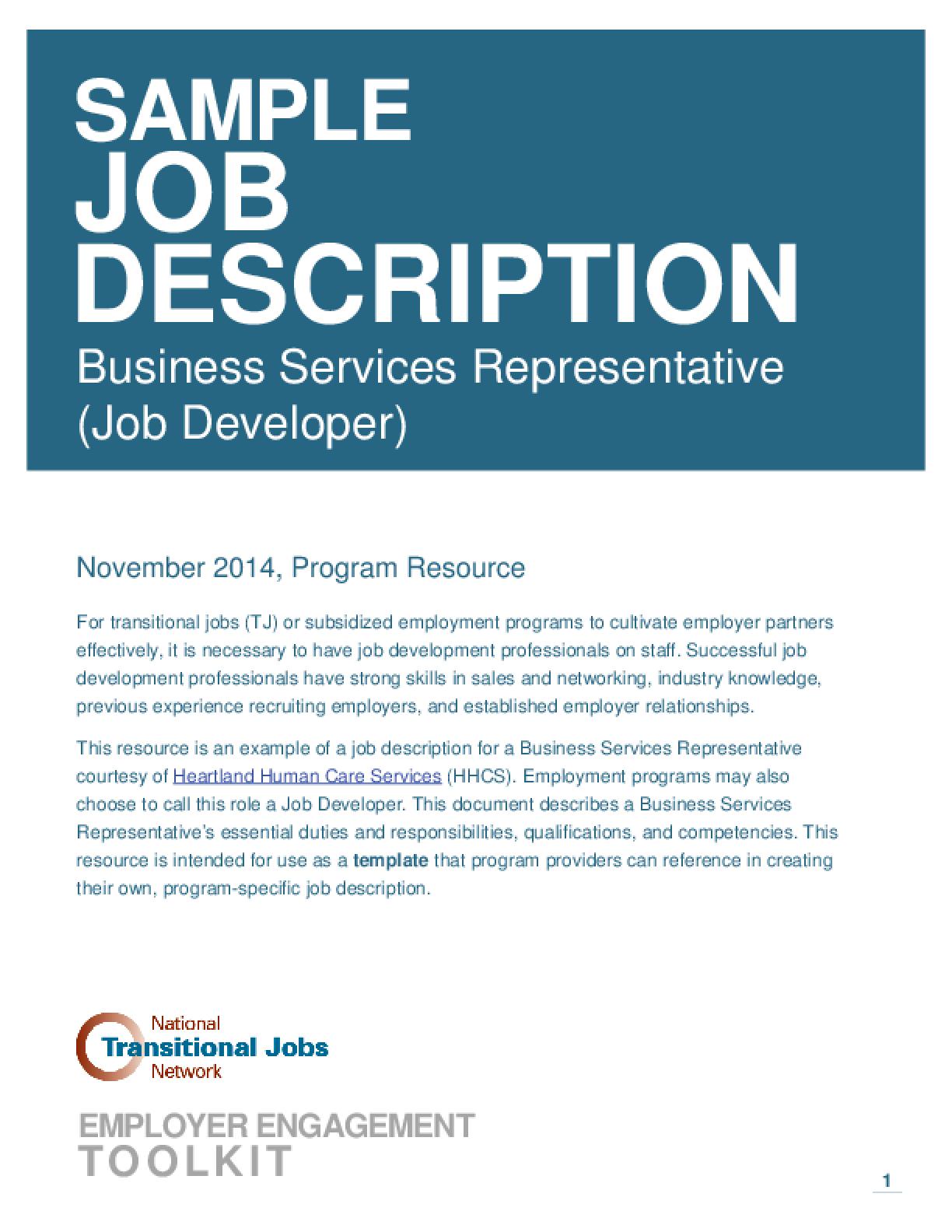 sample of job description  Idealvistalistco