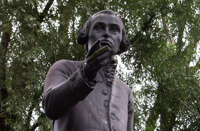 Statue of Immanuel Kant in Kaliningrad state university area, Kaliningrad, Russia. Replica by Harald Haacke of the original by Christian Daniel Rauch lost in 1945.​ Wikimedia Commons