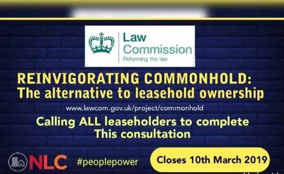 NLC URGES ALL LEASEHOLDERS TO COMPLETE THE COMMONHOLD CONSULTATION – CLOSES 10TH MARCH 2019