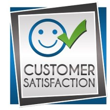 Customer Satisfaction Blue Grey Squares