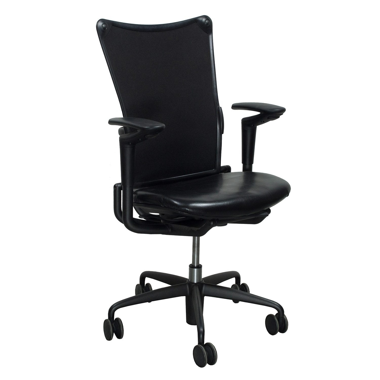 allsteel office chair garden covers seat cushion 19 used task with leather black