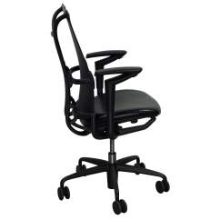 Allsteel Office Chair Support 19 Used Task With Leather Seat Black