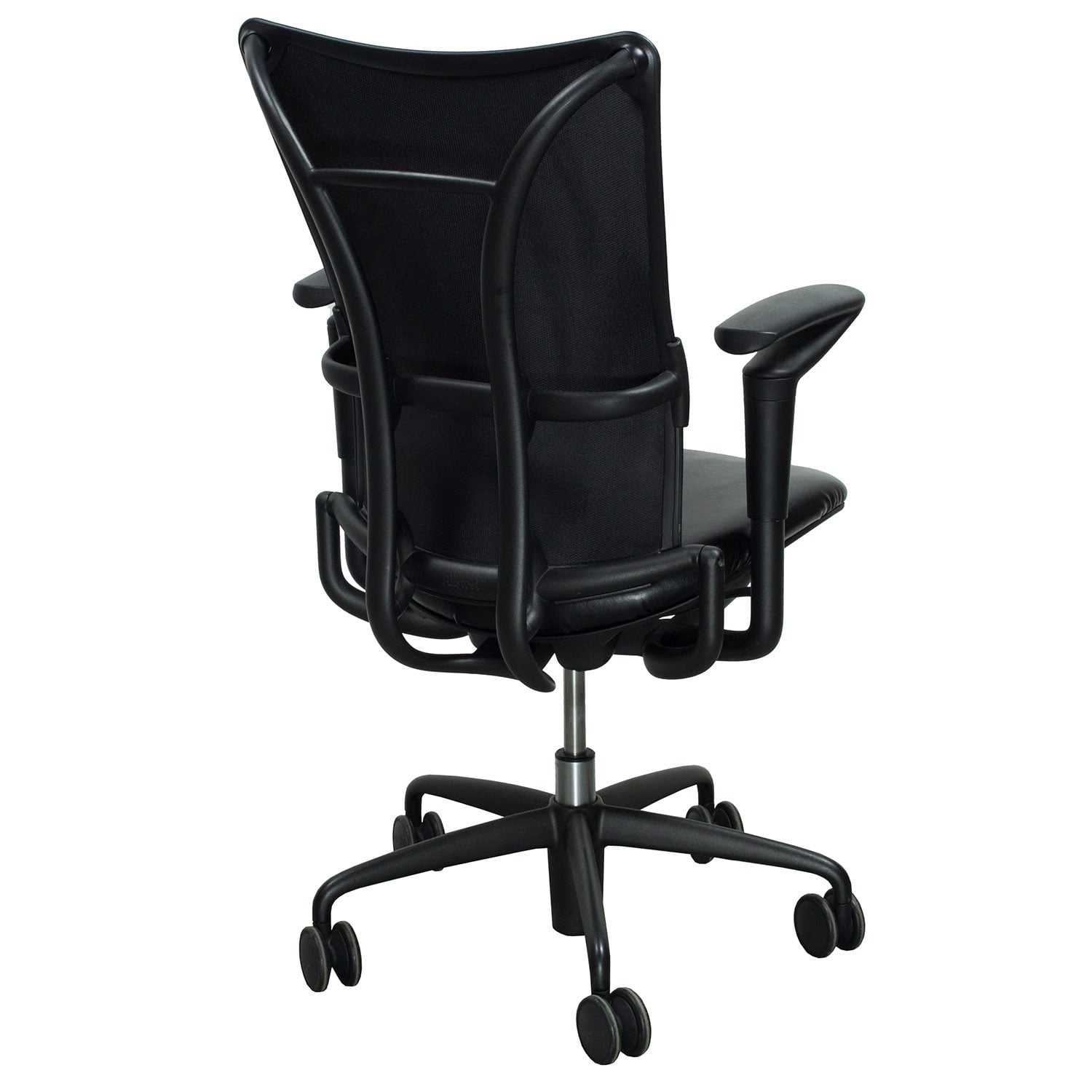 allsteel office chair modern design 19 used task with leather seat black