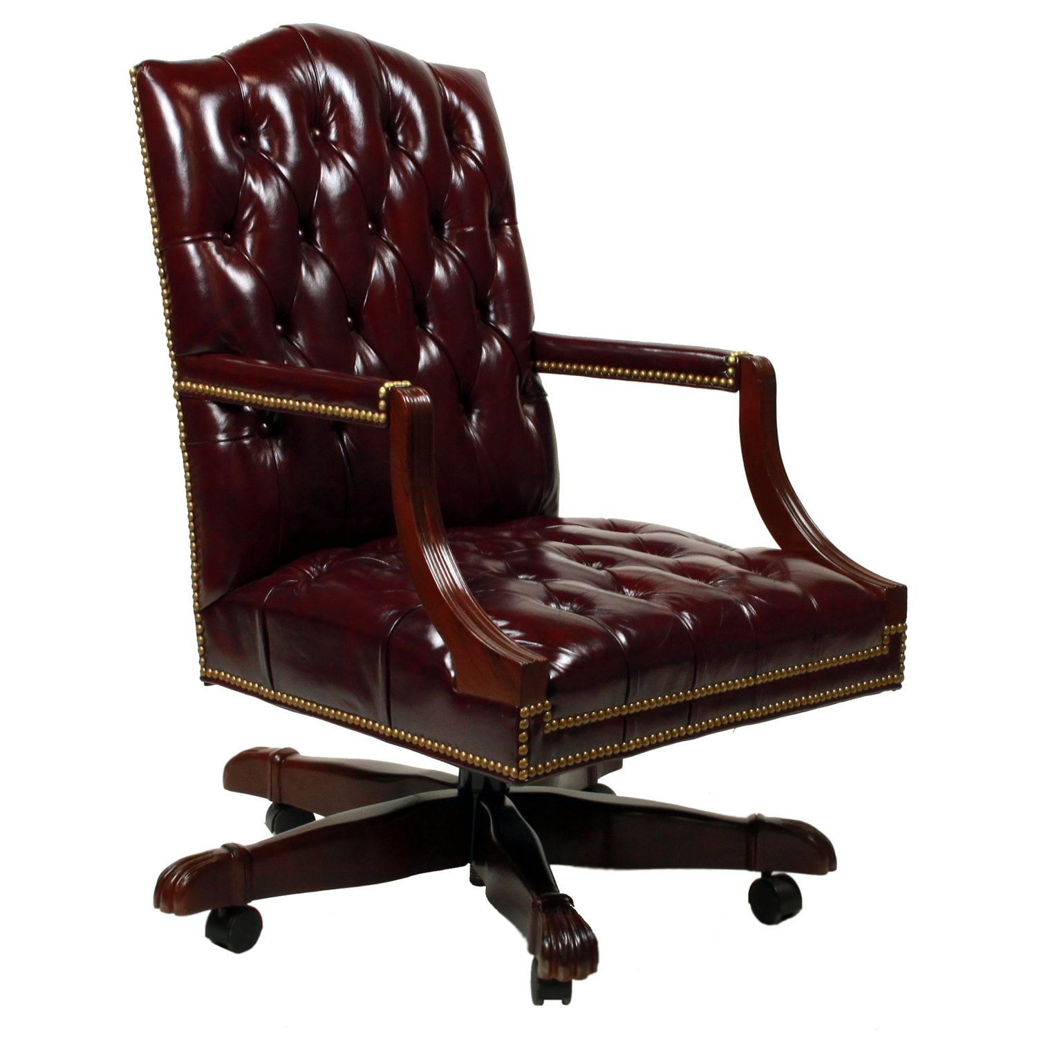 Tufted Leather Office Chair Cabot Wrenn Graham Used Tufted Leather Task Chair Glazed Blackberry