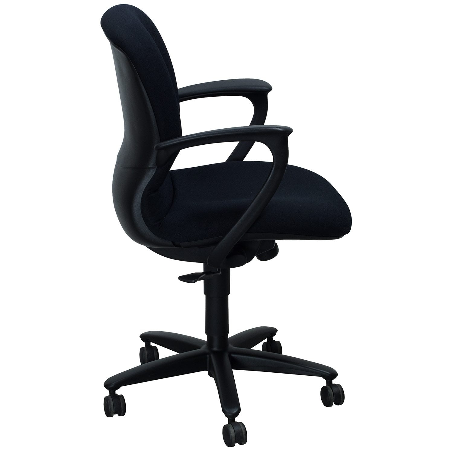 reupholster office chair with arms 2 chairs and table patio set haworth improv desk used conference black