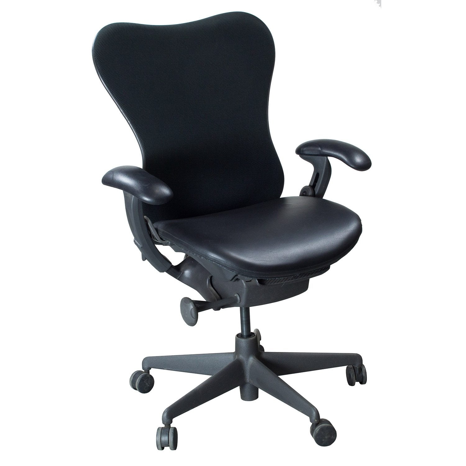 herman miller used office chairs chair cane supplies uk mirra leather seat task black