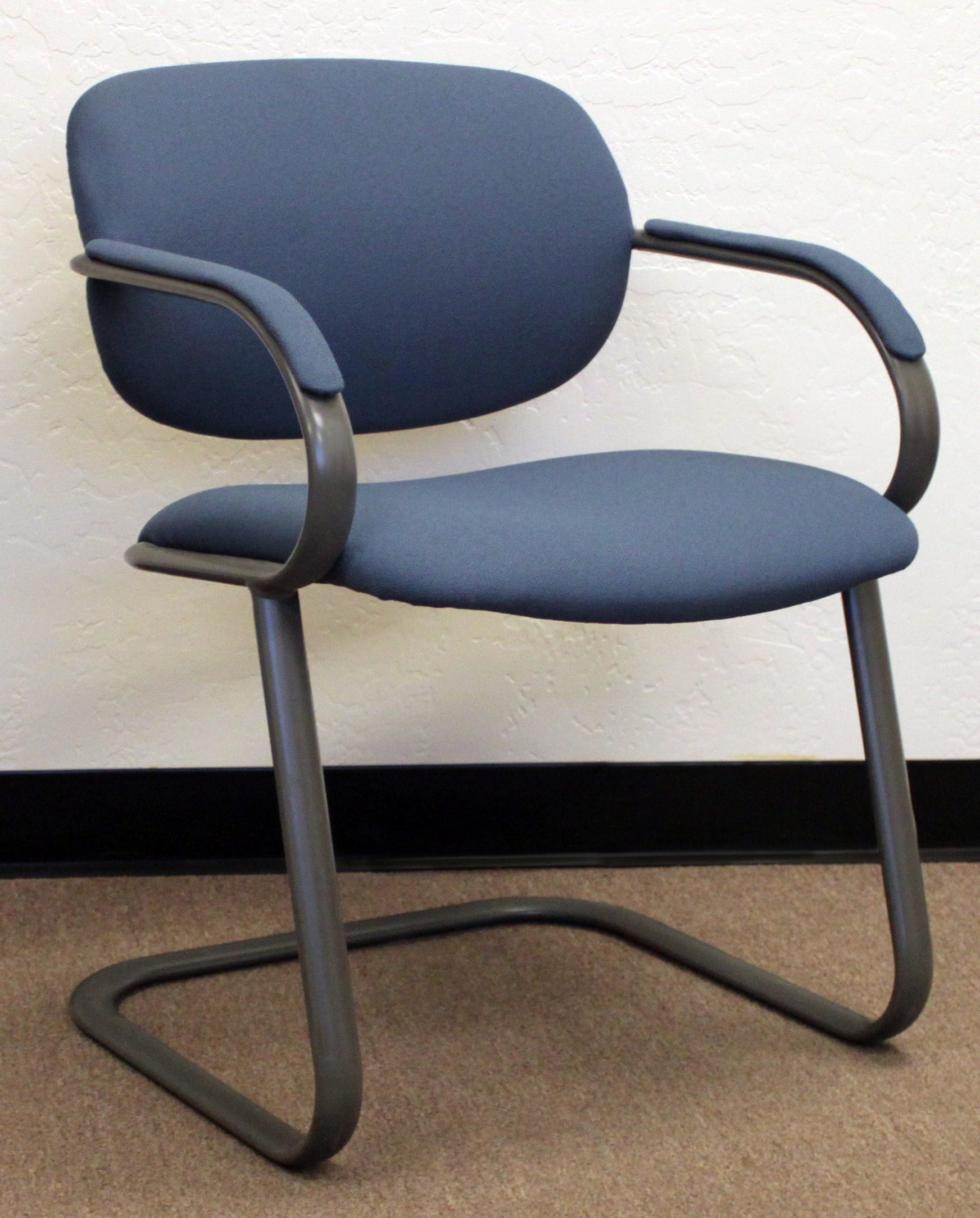 reupholster office chair with arms swivel rocking chairs for living room haworth reupholstered used side blue national