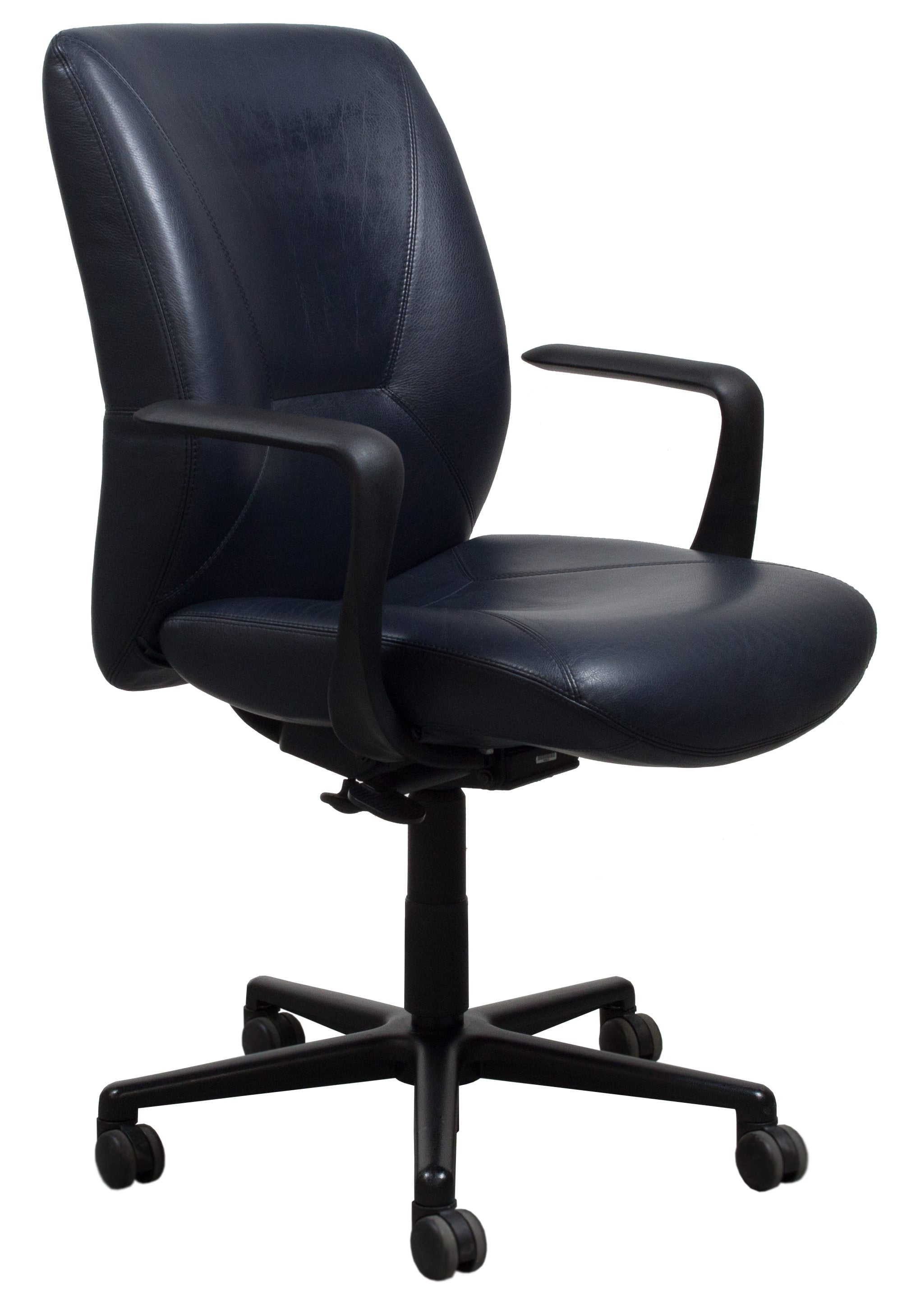 navy office chair nursery ikea keilhauer respons leather used task national