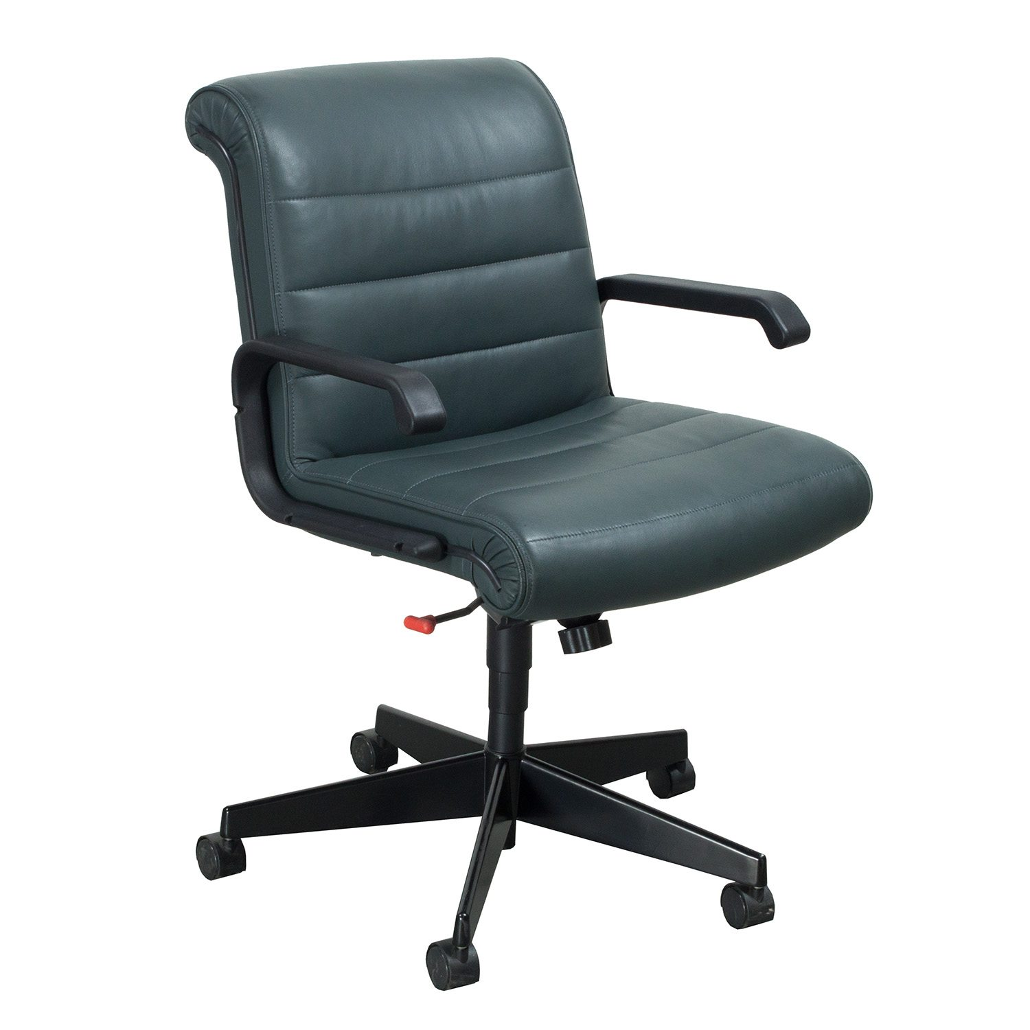 Knoll Sapper Used Leather Managerial Chair Forest Green