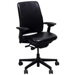Steelcase Amia Chair Stand Used Leather Task Black National