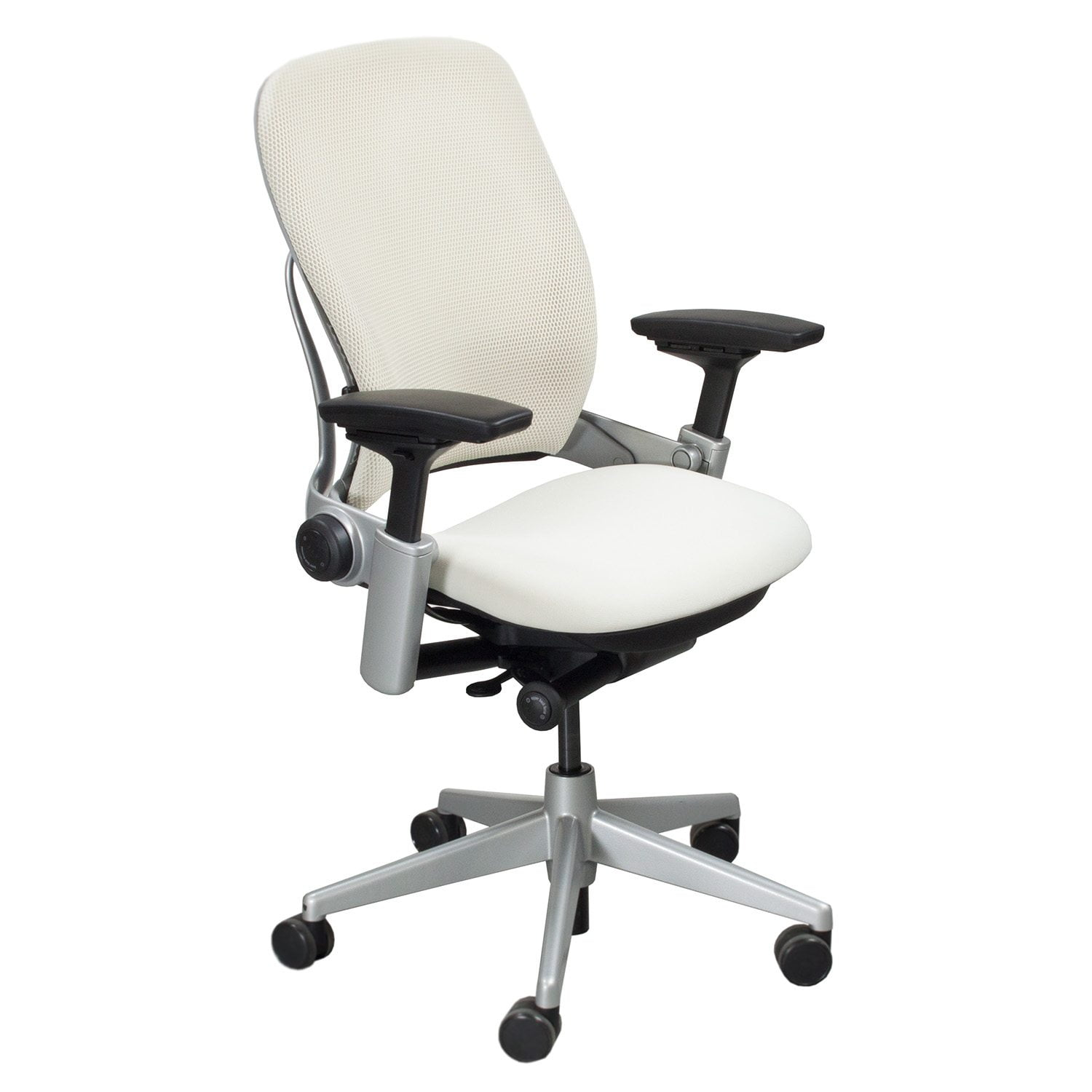 steelcase leap chair ivory wingback used task white national office