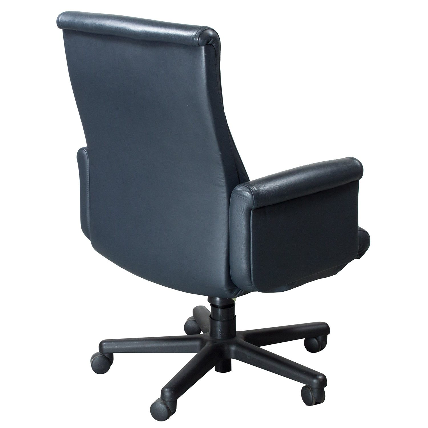 blue leather office chair high cover singapore steelcase theorem used midback executive