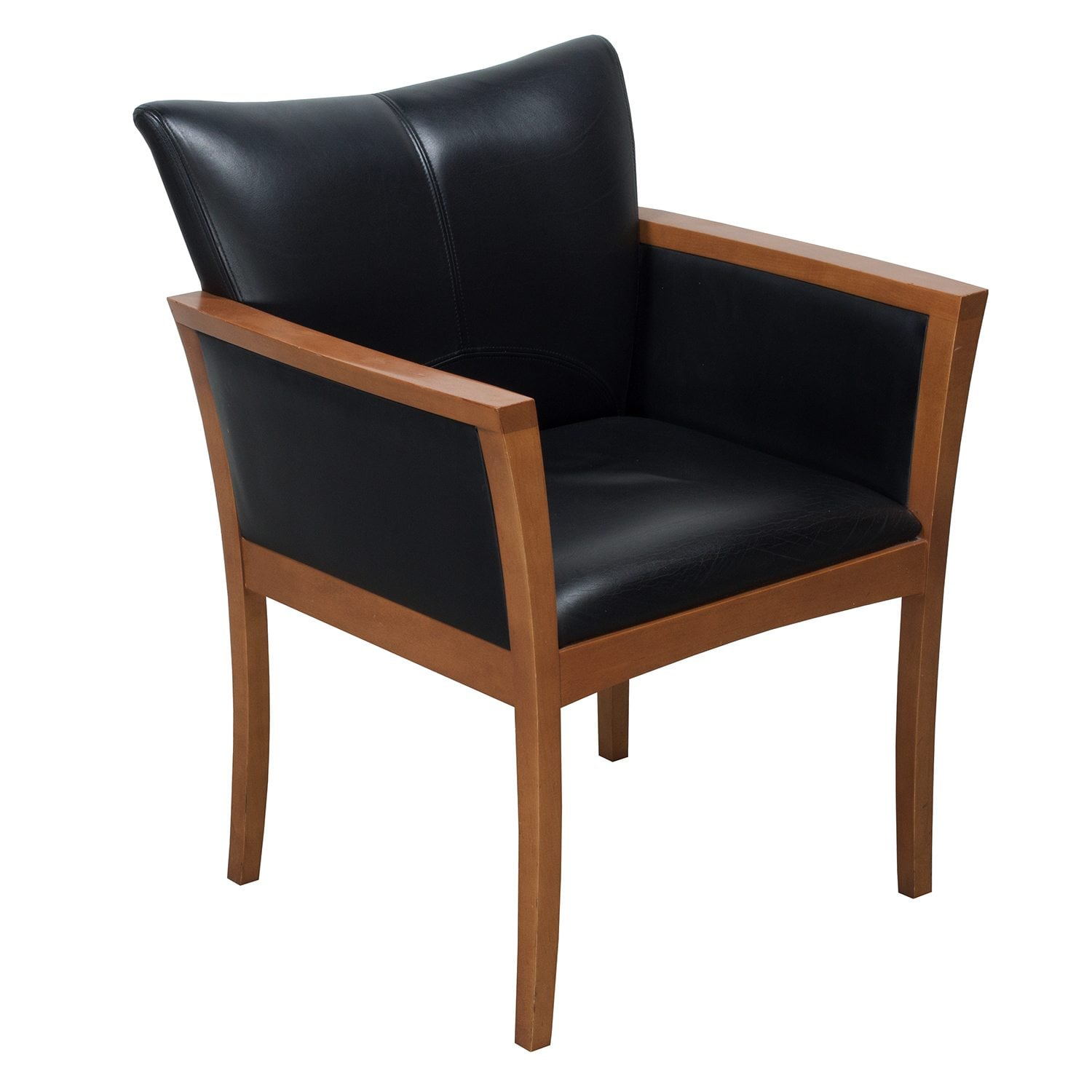 Arcadia Used Leather Side Chair Black  National Office
