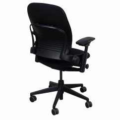 Steelcase Chair Plastic Weave Garden Chairs Leap V2 Used 3d Mesh Task Black