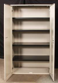 Haworth Used Putty 5 Shelf 63 inch Tall Storage Cabinet ...