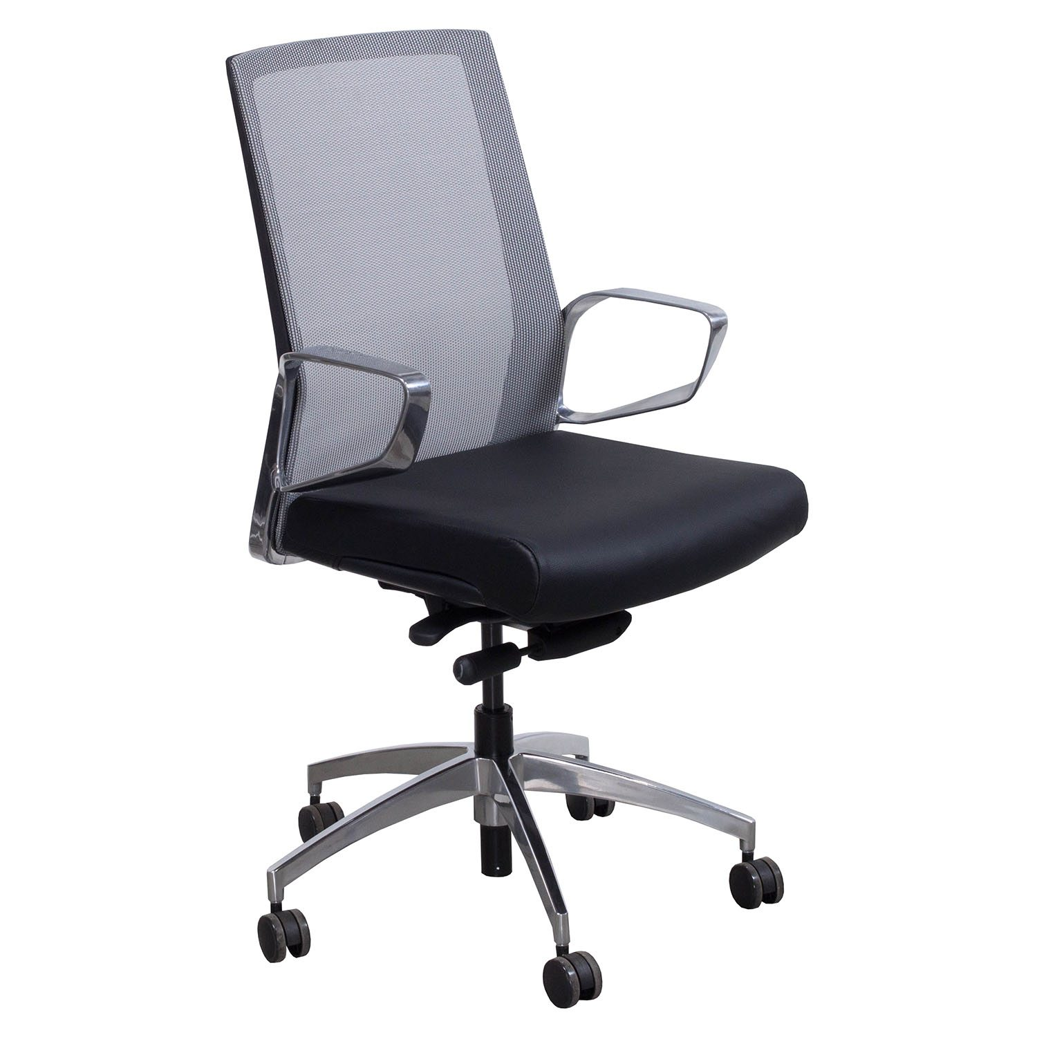 modern grey leather office chair swing benefits maris by gosit and mesh conference black