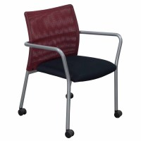 Steelcase Jersey Used Mobile Stack Chair, Red and Black