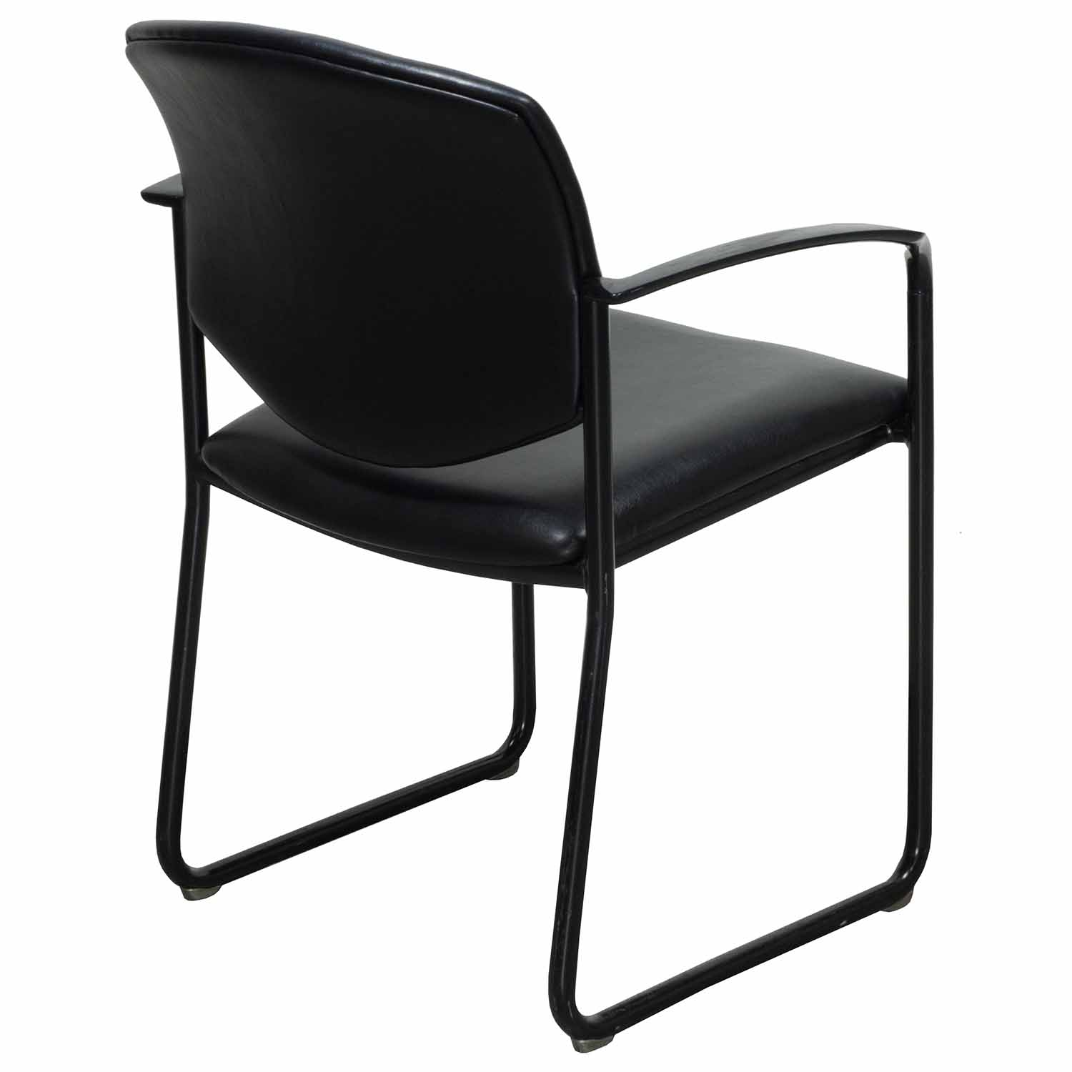 office chair steel base with wheels cover rentals edinburgh steelcase player used leather sled based black