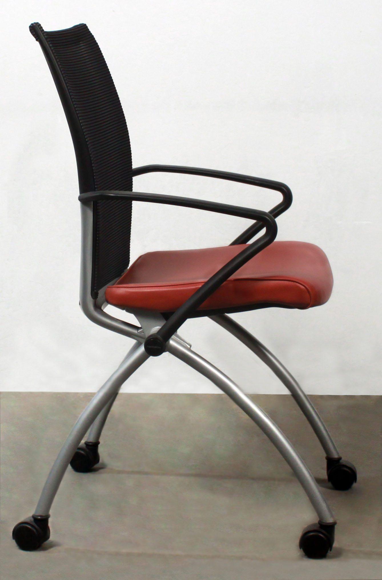 Haworth X99 Used Leather Mesh Back Seminar Nesting Chair
