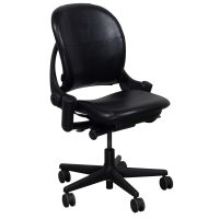 Steelcase Leap Armless Used Leather Task Chair, Black