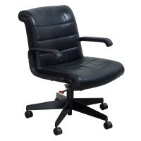 Knoll Sapper Used Leather Managerial Chair, Black