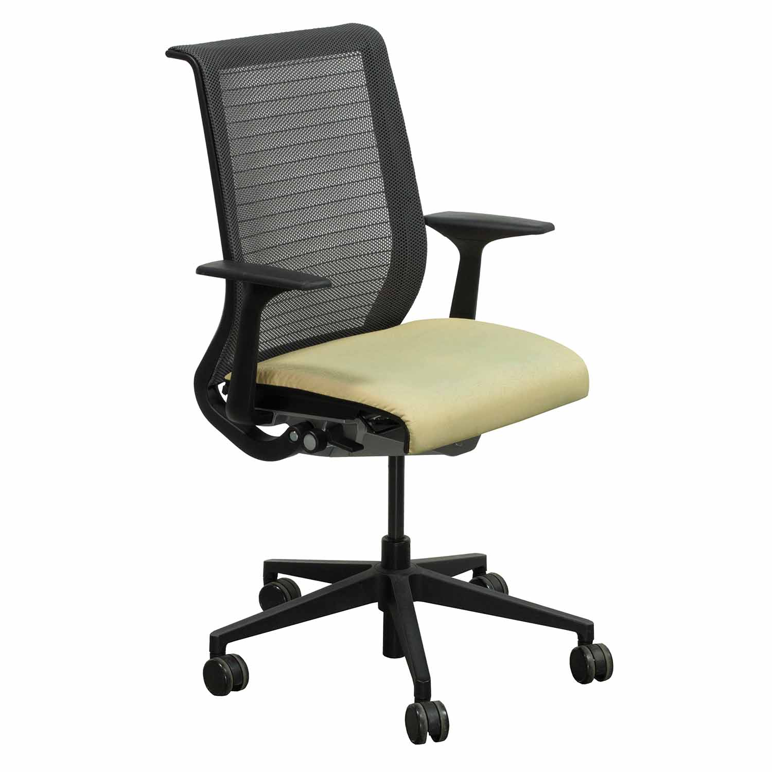 yellow office chair wheelchair jingle bell rock steelcase think used mesh back conference