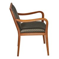 Bernhardt Used Wood Side Chair, Tan Black Pattern