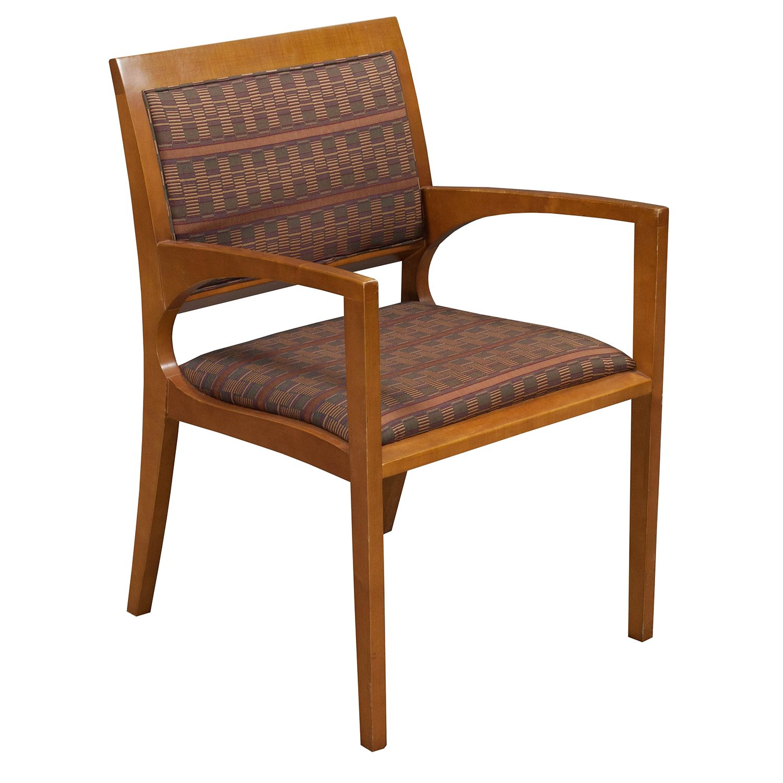 Bernhardt Used Wood Side Chair Brown Red Geometric