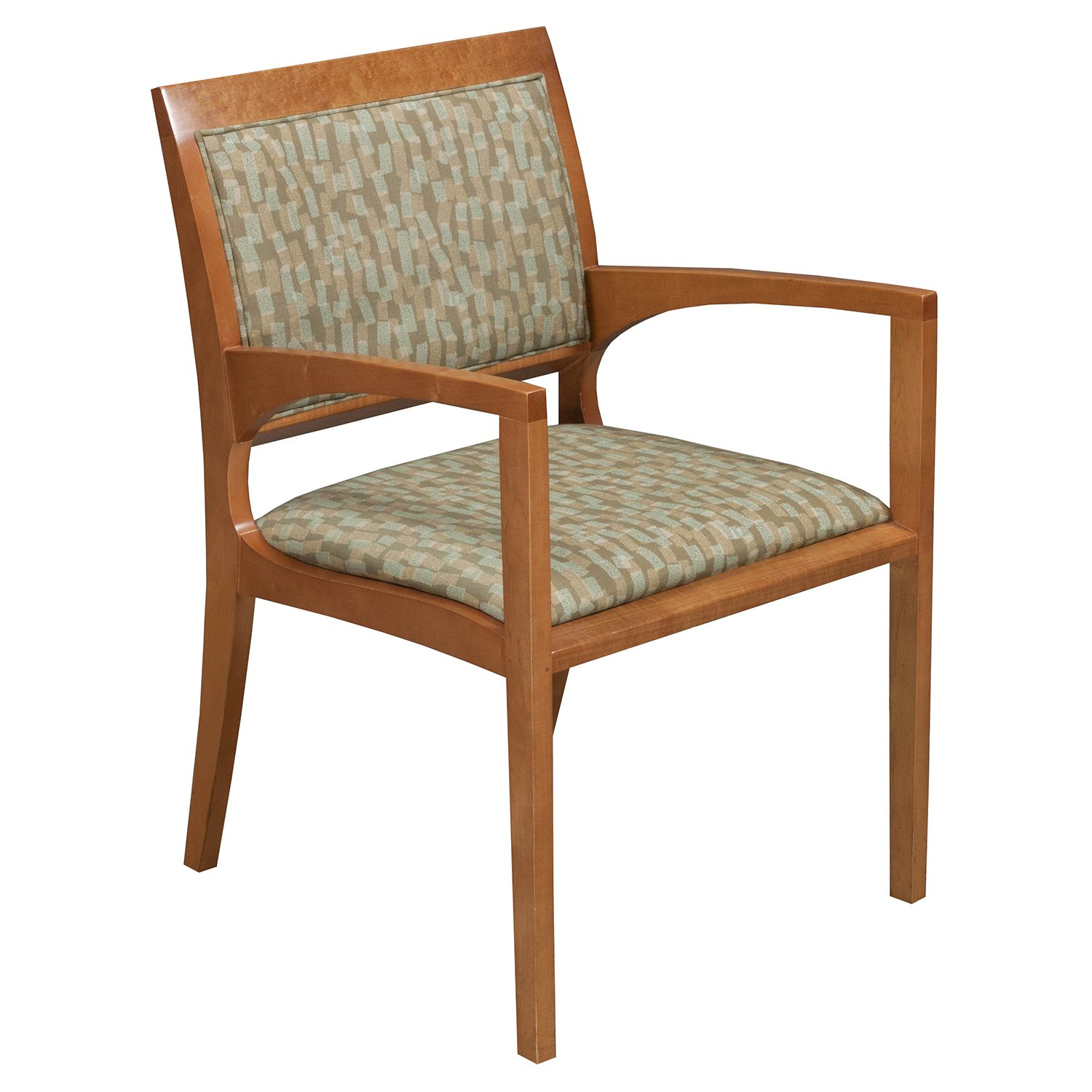 Pattern Chair Bernhardt Used Wood Side Chair Tan Green Pattern