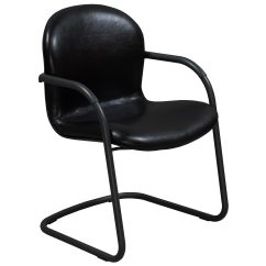 Leather Side Chair Wooden Ladder Back Kitchen Chairs Knoll Rpm Used Black National Office