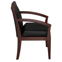 Tiffany Industries Used Wood Side Chair, Black Leather ...