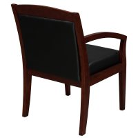 Tiffany Industries Used Wood Side Chair, Black Leather